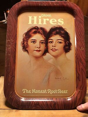 VINTAGE HIRES ROOT BEER THE HONEST ROOT BEER HASKELL COFFIN METAL TRAY As found