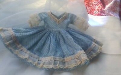 Madame Alexander Kins Vtg   Blue Gingham Tagged Dress w Puff sleeve 4 Wendy Doll