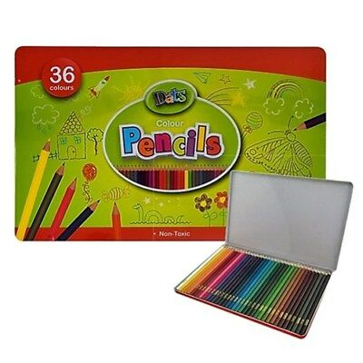 36 Pack Coloured Pencils Metal Tin Pencil Non-Toxic Art Painting Artist Sketch
