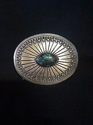 Gorgeous Sterling Silver and Lander Blue Turquoise Belt Buckle*Tony Guerro*