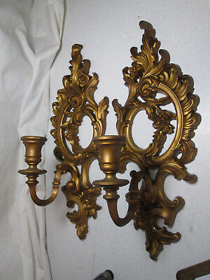Pair Syroco Homco Gold Gilt Wall Candle Sconces 1962