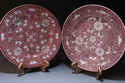 Pair of Chinese Hand Painted Enameled Porcelain Plates.