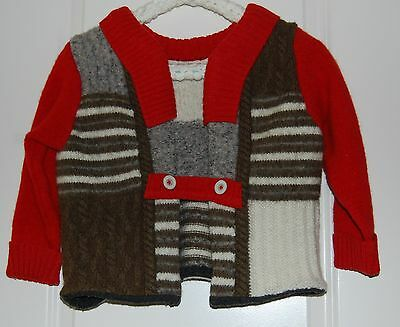 Heavy Felted Wool Sweater Jacket Child Size XL