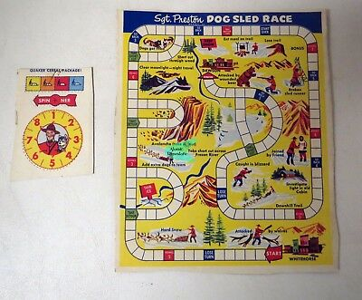 Vintage 1950s QUAKER PUFFED RICE Sgt. Preston DOG SLED RACE Box back and spinner