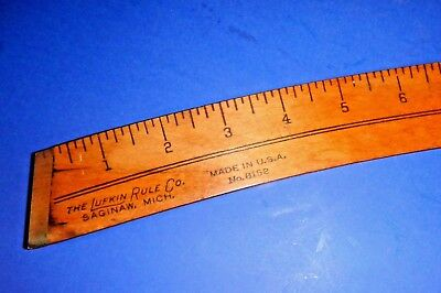 Vintage Lufkin Rule Co. Wood & Brass French Curve or Taylors Rule No. 8152