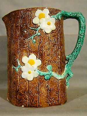 Signed Antique J. Holdcroft English Majolica Dogwood Pattern Pitcher late 19th c
