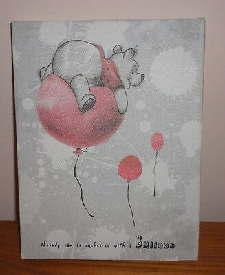 """Brand New Artissimo Winnie The Pooh Canvas Wall Art Pooh Red Balloon 6.5"""" x 8.5"""""""