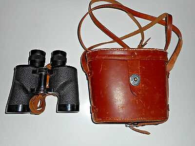 MEIBO BINOCULARS RARE Japan 1940s VINTAGE Coated 8 x 32 FPO Brown Leather Case