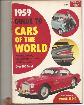 1959 Trend Books 182 Cars Of The World  128 Pages Over 200 Cars