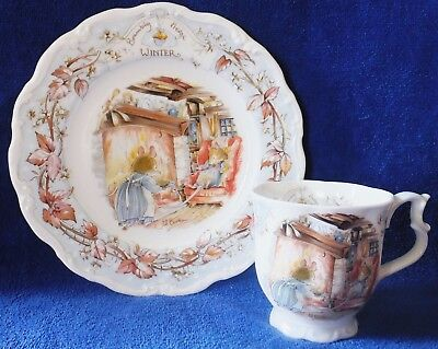 Royal Doulton Bone China Brambly Hedge Winter 1982 Plate & 1983 Cup