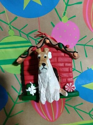 Wire Fox Terrier Handmade Ceramic Sculpture in Christmas Dog House