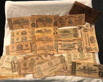 Lot of Confederate Currency - Different Denominatioins - Over 30 Items