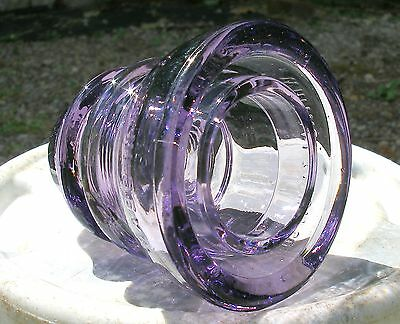 PRIMO!  PURPLE PASSION Glass Insulator NOT STAINED or DYED! SHE SHIPS FREE!