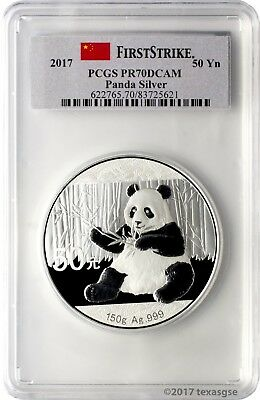2017 50 Yuan China 150gr .999 Silver Panda Proof Coin PCGS PR70DCAM First Strike
