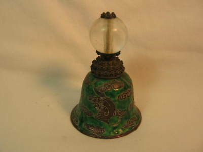 Chinese Hat Button Bell Dark Green Base With Bats