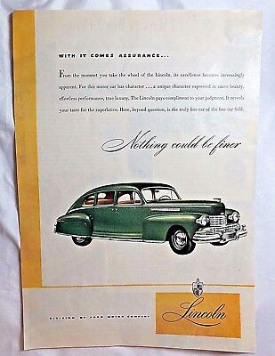 1946 LINCOLN, A Division of Ford Motor Company, magazine ad.   #282