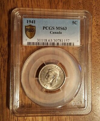 Canada 1941 PCGS MS 63 5 Cent Coin