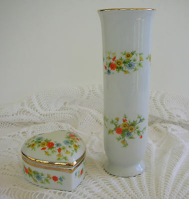 Vintage 1970s Lefton Vase & Heart Trinket Box Orange Yellow Floral  Gold Trim
