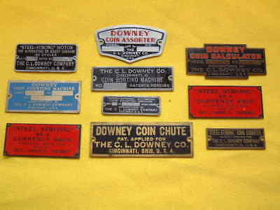 "10 Different Vintage ""steel Strong"" C.l.downey Coin Machine Plates 1920's N.o.s."