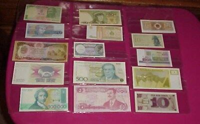 Lot Of 15 Different World Currency Banknotes Paper Money W/ Case