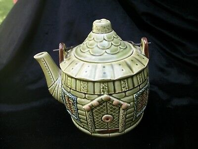 Cottage Shape Tea Pot Wire Handle Green Made in Japan Art Pottery Vintage