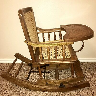 Antique~Childs High Chair~Rocking Chair~Cane Seat~Made in USA~ - ANTIQUE~CHILDS HIGH CHAIR~ROCKING Chair~Cane Seat~Made In USA~Oak
