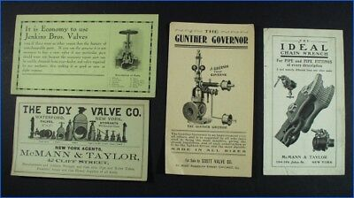 4 Assorted Vintage Advertising Flyers, Valves, Wrenches, Etc.