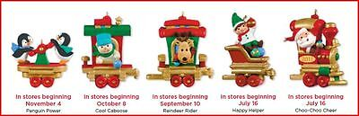 2011 Hallmark SANTA'S HOLIDAY TRAIN Complete Set of 5 Miniature Ornaments
