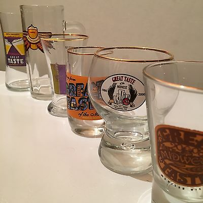 (6) Different GREAT TASTE OF THE MIDWEST Beer Glasses MADISON, WI 2001-2008 GTOM