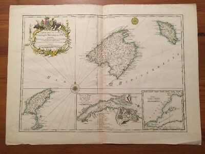 Antique Map 1740 Hand Colored Copper Engraving Balaeric Islands Spain