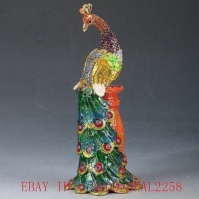 Chinese Cloisonne Handwork Carved Peacock & Enchase Box Statue JTL009