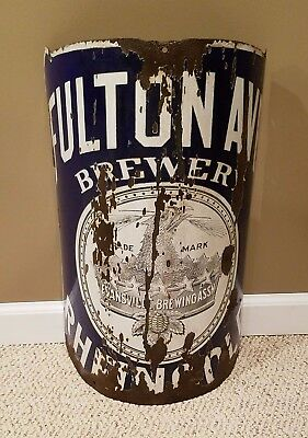 ULTRA-RARE 1880s FULTON AVENUE BREWERY corner sign / pole sign from INDIANA!!!