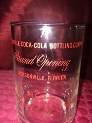 Rare Collectible Coca Cola Glass.  1968 Jacksonville Bottling Grand Opening