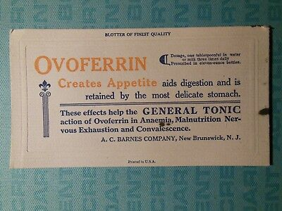 Ovoferrin tonic ad blotter, 1920s, A.C. Barnes Co., New Brunswick NJ