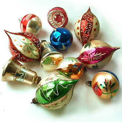 11 Beautiful Vintage Mercury Glass Christmas Tree Baubles Decorations 1950S/60S