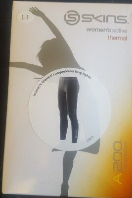 SKINS A200 Women's Thermal Compression Long Tights Black Size Large