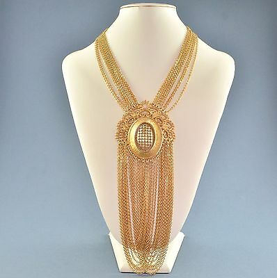 Vintage MONET Long 1970s Ornate Goldtone Multiple Chain Swags Bridal Jewellery