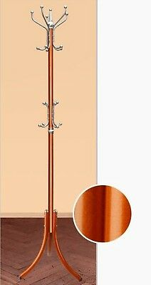 1X Red Brown Multi Hook Heavy Clothes Coat Hat Stand Rack 178cm High