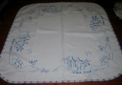Vintage Hand Embroidered Supper Cloth ~ Willow Pattern ~ Linen