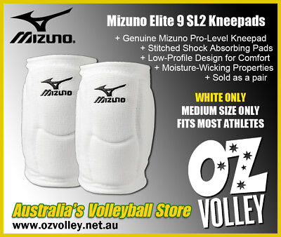Genuine Mizuno Elite 9 SL2 Kneepads (Medium/White) - Aus Dispatch - OzVolley