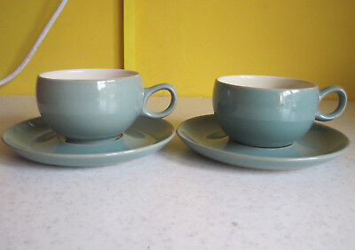 2 Vintage Denby Manor Green Cups And Saucers Tableware