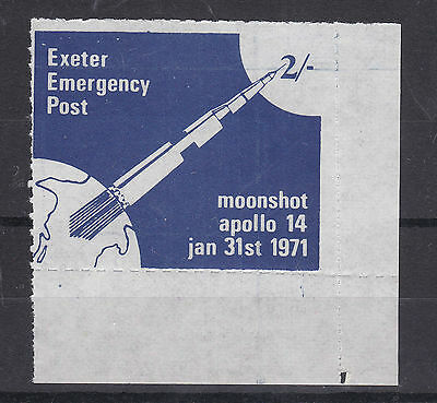 1971 Strike Mail Exeter Emergency Post 2/- Blue Marginal Apollo 14 Stamp Mnh