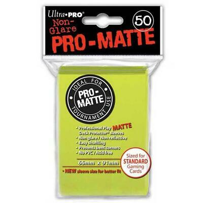 ULTRA PRO Deck Protector Sleeves Pro Matte Bright Yellow Standard 50ct 66 x 91