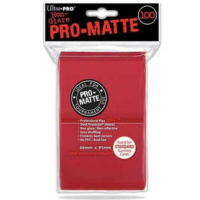 ULTRA PRO Deck Protector Sleeves Pro Matte Non-Glare Red Standard 100ct 66 x 91