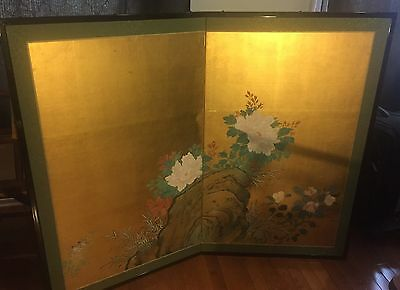 Floral screen: 1850-1899, Japan, Paintings, Gold leaf Paper