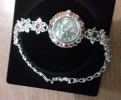 Sapphire & White Topaz Round 925 Sterling Silver Watch – Georgiadis