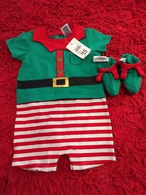 BABY BOYS Sz 00 XMAS Outfit ELF Romper one-piece CHRISTMAS with Booties