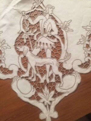 """Figural Hunt Scenes TABLECLOTH MADEIRA Richelieu Embroidered Needle Lace 62""""x96"""""""