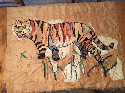 Vtg Rug Hooking Painted HESSIAN BURLAP Tiger In Grass Partially Completed CANVAS