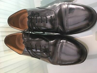 Black Leather Cadet Parade Uniform Shoes Capped Oxford RAF Style. Barely used 10